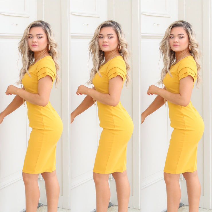 Start now jewel yellow fitted dress