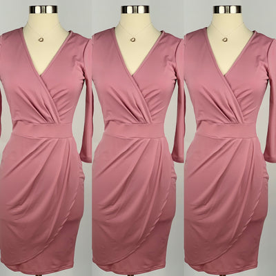 Runaway dusty pink ruched v-neck dress