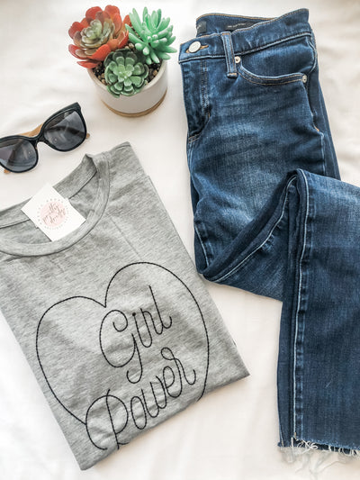 Girl power grey graphic tee