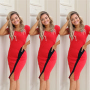 Red and black color block asymmetrical dress
