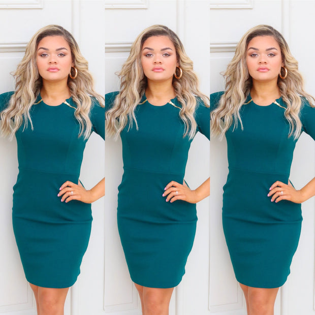 Hunter green pencil dress
