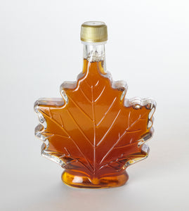 Glass Maple Leaf New York State Pure Maple Syrup