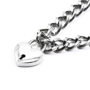 DreamBell Fashion Women Punk Cool Neck Collar Slave Game Pet Heart-Shape  Padlock Metal Choker Necklace