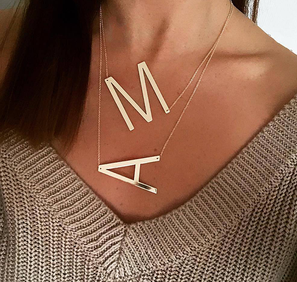 Big Letter Necklace Stainless Steel Initial Pendant