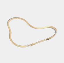 Load image into Gallery viewer, Snake Chain Necklace Herringbone Necklace Flat Gold Chain Necklace Snake Chain Choker Gold Snake Chain Gold Flat Necklace herringbone