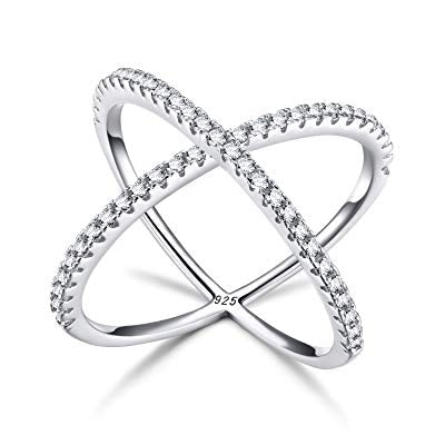 Silver Criss Cross Ring, X Cross Ring, Cubic Zirconia Silver Ring