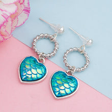 Load image into Gallery viewer, Mermaid Fish / Dragon Scale Blue Earrings