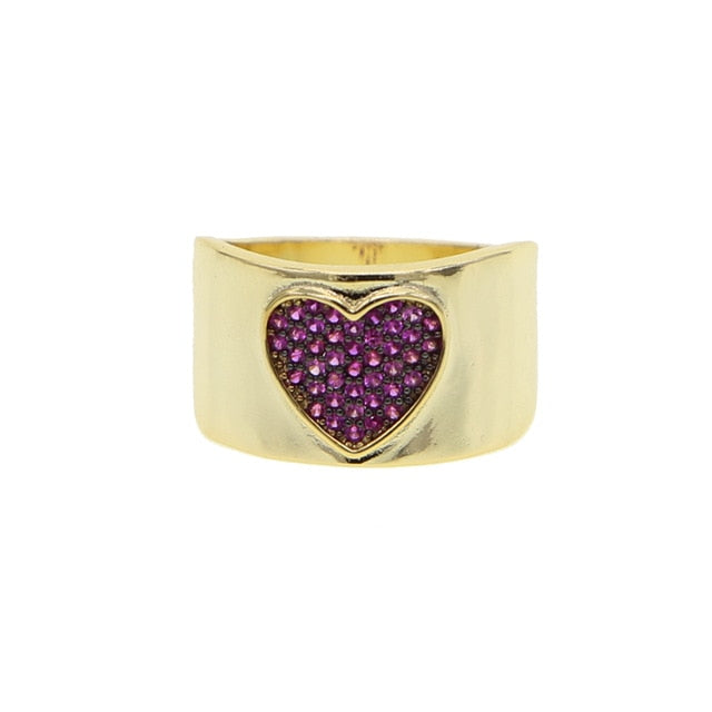 Valentine's gift for lover girlfriend Gold filled with Red Heart wide gold band ring trendy finger jewelry