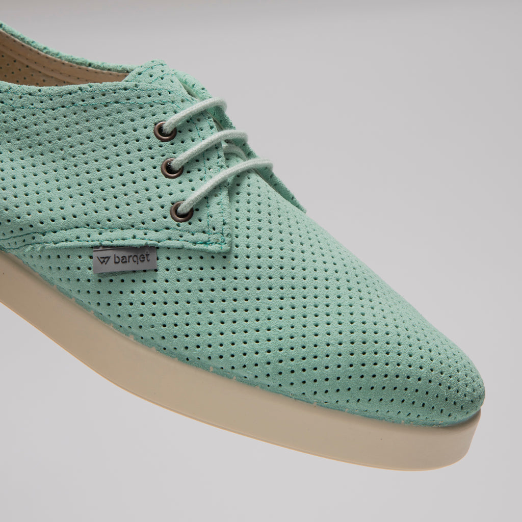 Dogma Low Perforated Aquamarine Suede