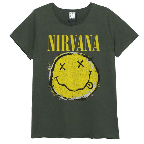 Amplified Nirvana Worn Out Smiley Womens T-Shirt - Merch Rocks
