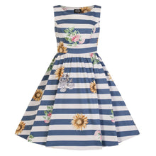 Load image into Gallery viewer, Hearts & Roses Girls 50's style Blue Striped Skyscraper Sunflower Dress