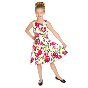 Hearts & Roses Girls 50's style Sweet Rose Swing Dress - Merch Rox