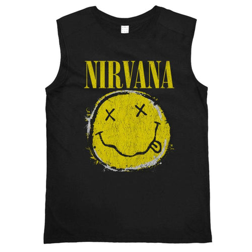Amplified Nirvana Worn Out Smiley Sleeveless T-shirt - Merch Rox
