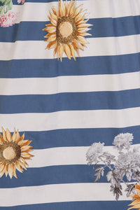 Hearts & Roses Girls 50's style Blue Striped Skyscraper Sunflower Dress