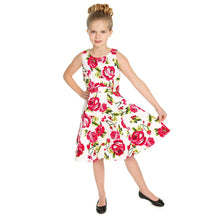 Load image into Gallery viewer, Hearts & Roses Girls 50's style Sweet Rose Swing Dress - Merch Rox