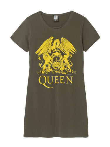 Amplified Queen Line Art Crest In Yellow T-Shirt Dress - Merch Rocks