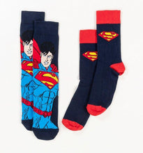 Load image into Gallery viewer, DC Comics Superman Logo Cape socks 2 Pack - Size 6-11 - Merch Rox