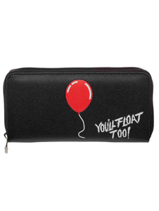 IT You'll Float Too Zip-Around Black Clutch Purse