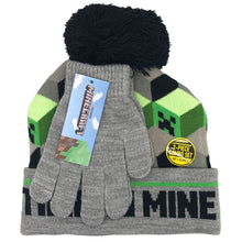 Load image into Gallery viewer, Minecraft Time to Mine Hat and Gloves Winter Set