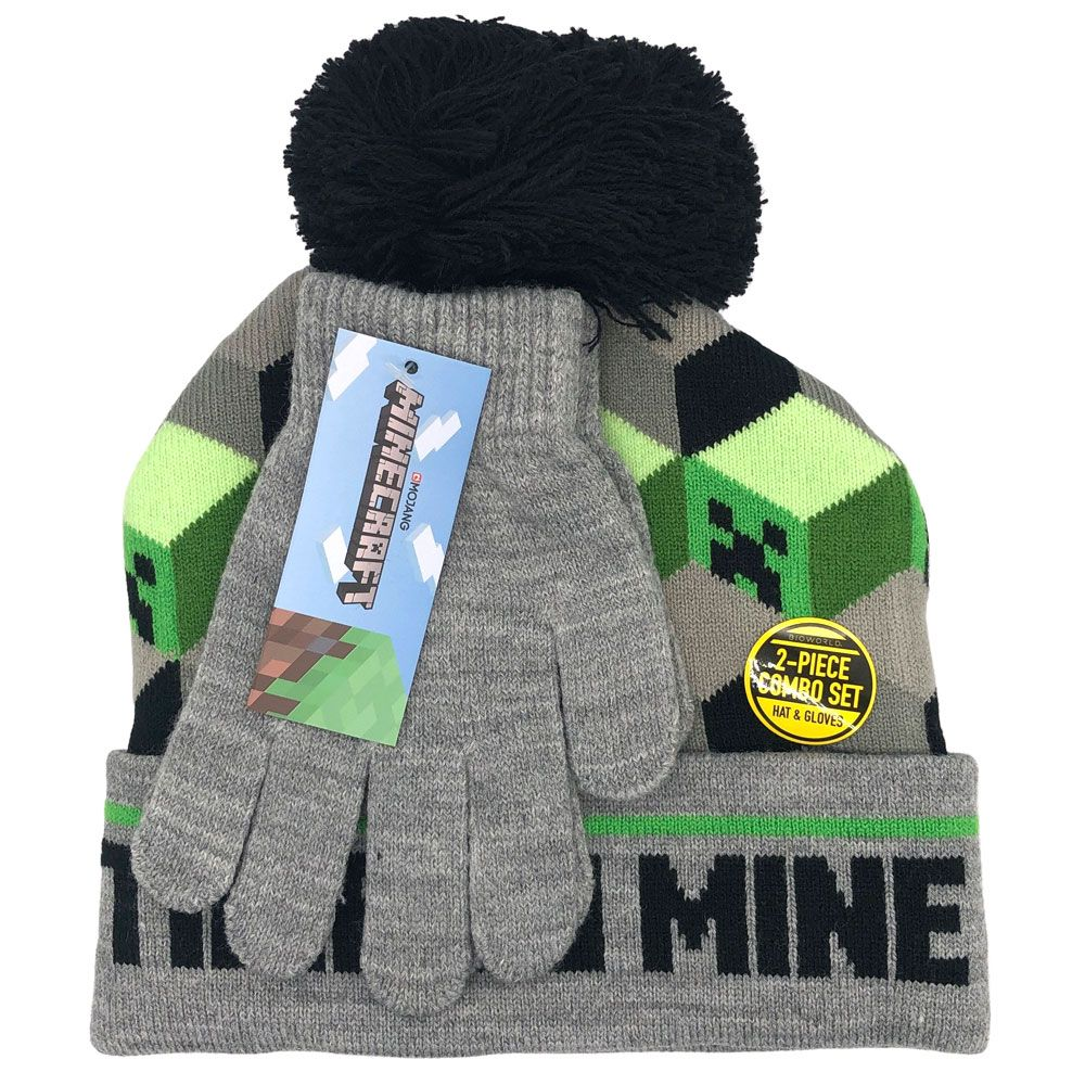 Minecraft Time to Mine Hat and Gloves Winter Set