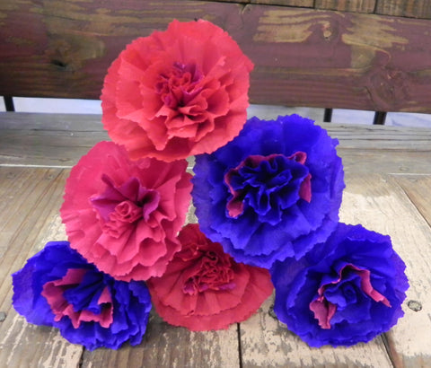 Free shipping Crepe Paper Flowers Set of 6 Carnations Red/Purple By Julia