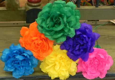 "Free shipping Crepe Paper Flowers Set of 6  Multicolor  ""Roses ""  By Julia"