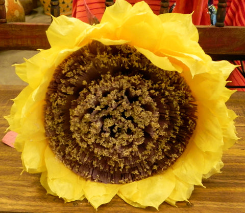 X Large Crepe Paper Flower Yellow Sunflower 13""