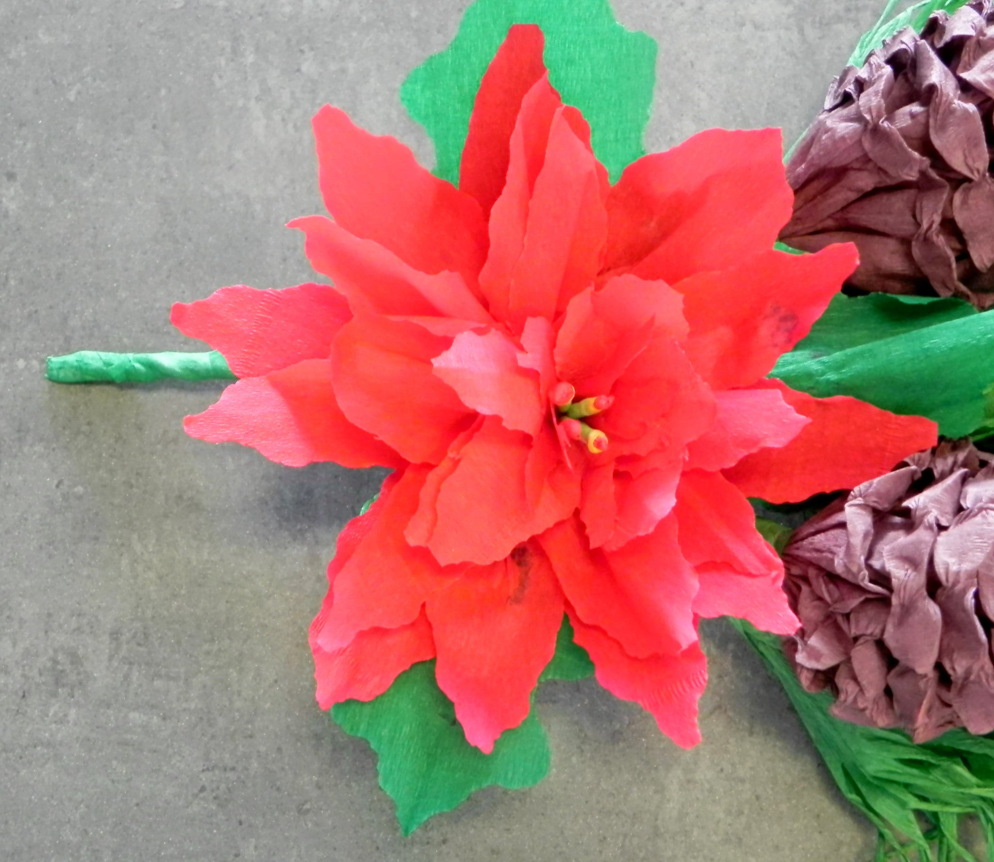 Red Poinsettia Crepe Paper Christmas Door Swag Decoration 100 Crepe
