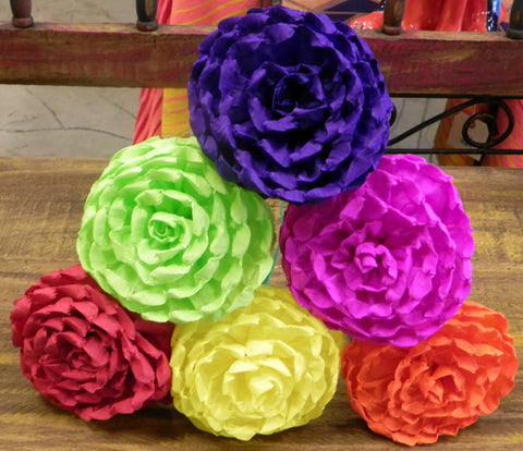 "Free Shipping Crepe Paper Flowers Set of 6 Multicolor  ""Loly's ""  By Julia"