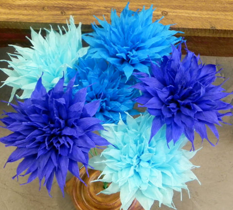 Free shipping Crepe Paper Flowers Set of 6 Blue/White Spines