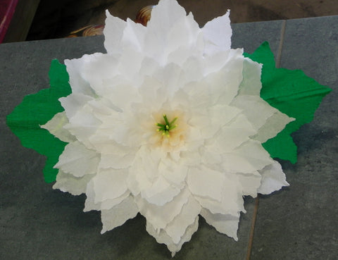 X Large Crepe Paper Flower Wall Hanging White Poinsettia 13""