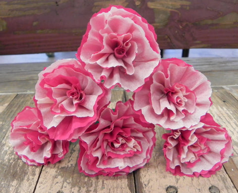 Flower sets paper flowers by julia mexican crepe paper flowers set of 6 carnations whitepinkwe make special orders mightylinksfo
