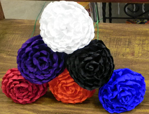 "Free Shipping Crepe Paper Flowers Set of 6 Dark Multicolor  ""Loly's ""  By Julia"