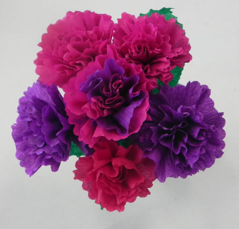 Free Shipping Mexican Crepe Paper Flowers Bouquet of 6 By Julia Purple/Fuchsia