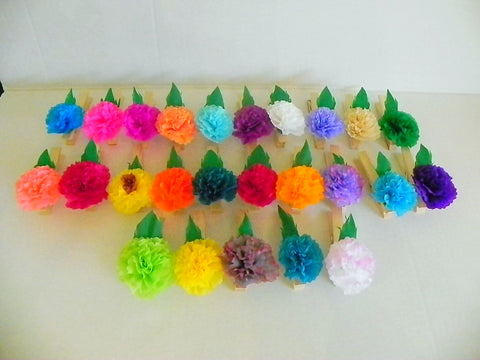 25 Mexican paper flowers on clothespins, Baby shower, party, decor.