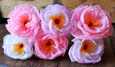 "Free shipping Mexican Paper Flowers Set of 6 Plum Blossom ""We Make Special Orders"""