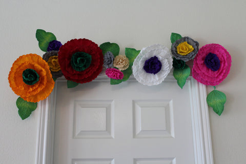Free shipping Bridal garland,wedding garland,paper flower garland,paper flower decor, 4 ft.