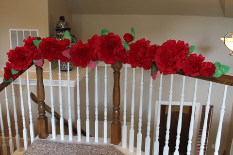 Free shipping Bridal garland,wedding, ,paper flower decor 7 ft Red Roses.