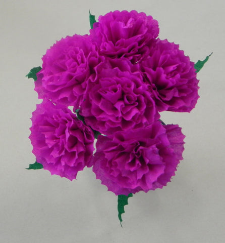 Free Shipping Mexican Crepe Paper Flowers Bouquet of 6 By Julia Fuschia