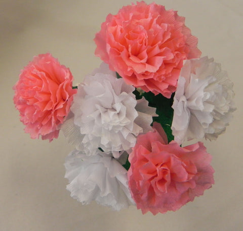 Free Shipping Mexican Crepe Paper Flowers Bouquet of 6 By Julia Pink/White
