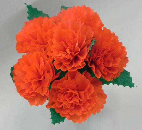 Free Shipping Mexican Crepe Paper Flowers Bouquet of 6 By Julia Orange