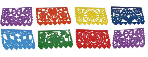 Mexican Plastic Banner - Papel Picado Fiesta Flowers Birds Hearts Sun 15Ft Long