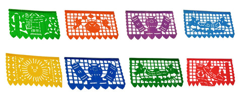Mexican Plastic Banner - Papel Picado Multicolor 15Ft Long Fiesta Party String