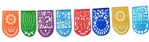 Vertical Mexican Plastic Banner Papel Picado Birds Flowers 16Ft String Fiesta