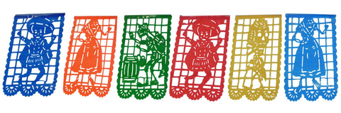 Vertical Mexican Plastic Banner Papel Picado Day Of Dead Skeletons 16Ft String
