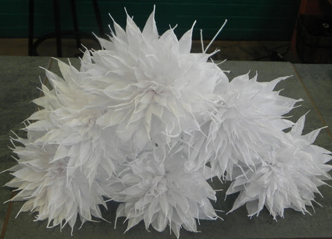 Crepe Paper Flowers Set of 6 White Wedding Spines