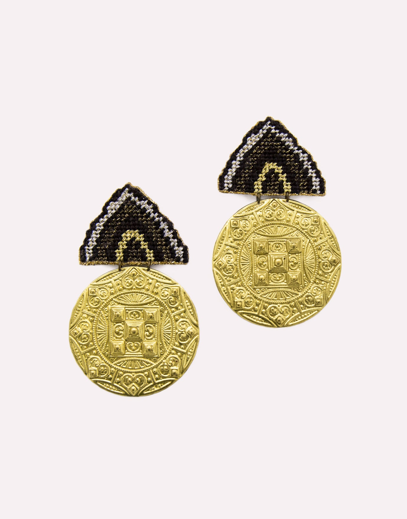 Grannys Trip Golden Disk Earrings