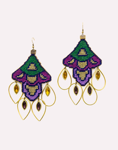 Grannys Trip Purple Gemstones Earrings