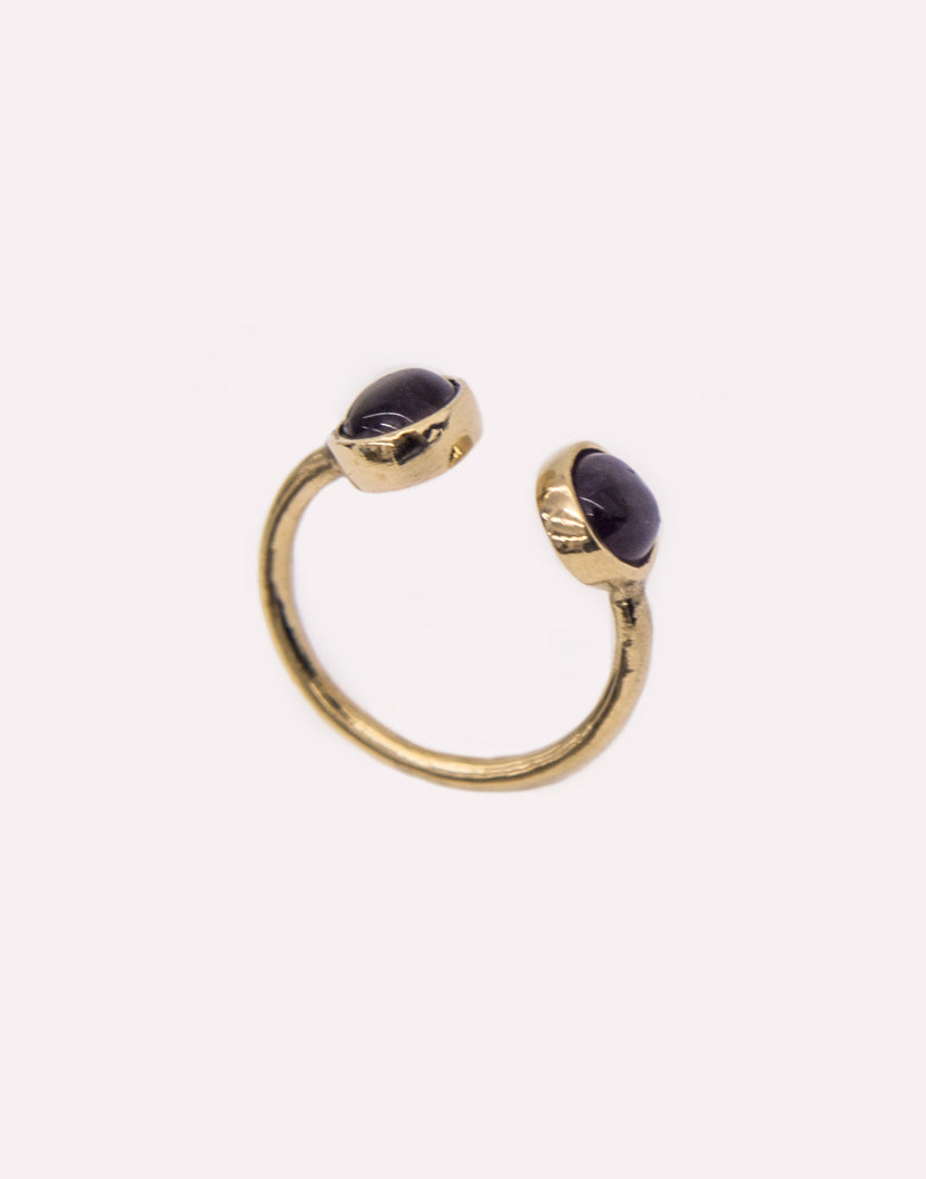 Cat Black Canis Minor Gemstone Brass Ring