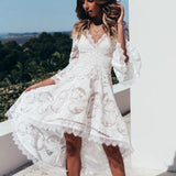 Leisure V Lace Irregular Hollow Middle Sleeves Lace White Deep Summer Dress